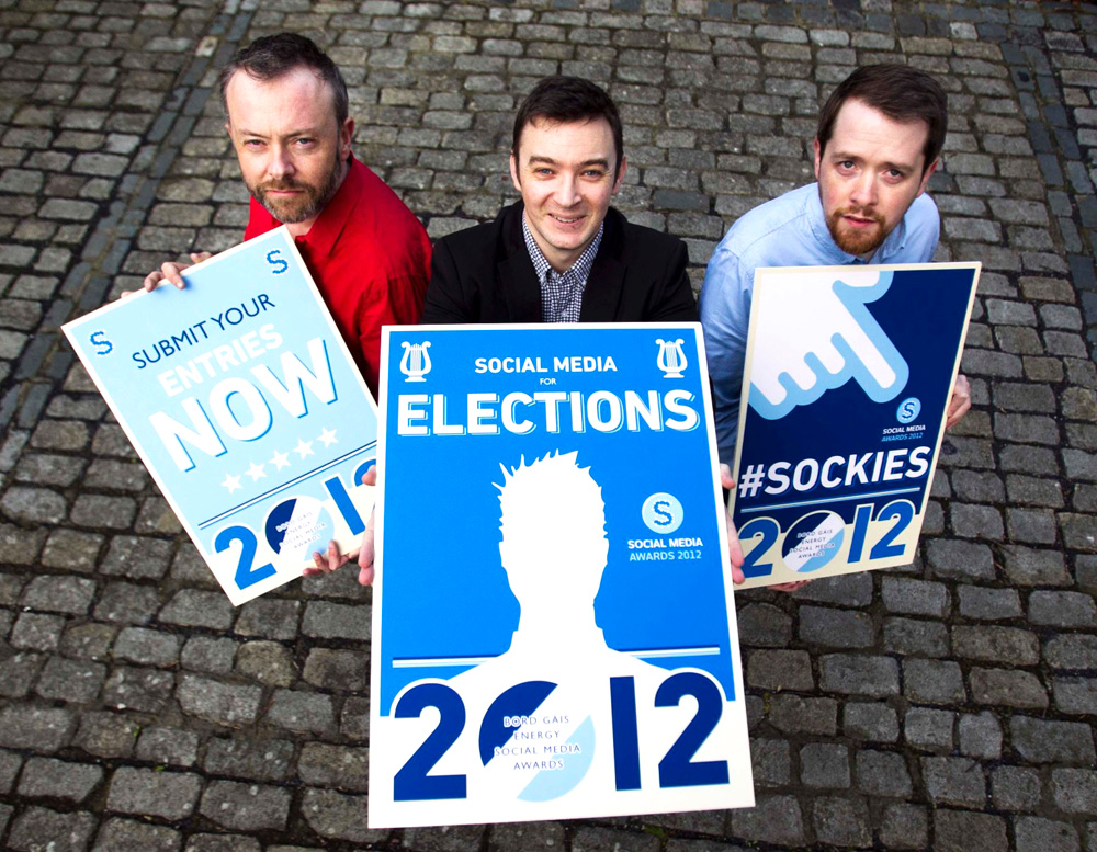 Radio DJ Rick O'Shea, organiser Damien Mulley and Eoin O'Súilleabháin, social media manager at Bord Gáis