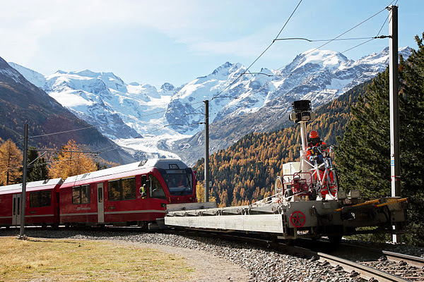 Albula/Bernina railway with Street View Trike