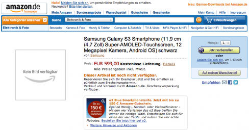 Galaxy S3 pre-order page on Amazon.de
