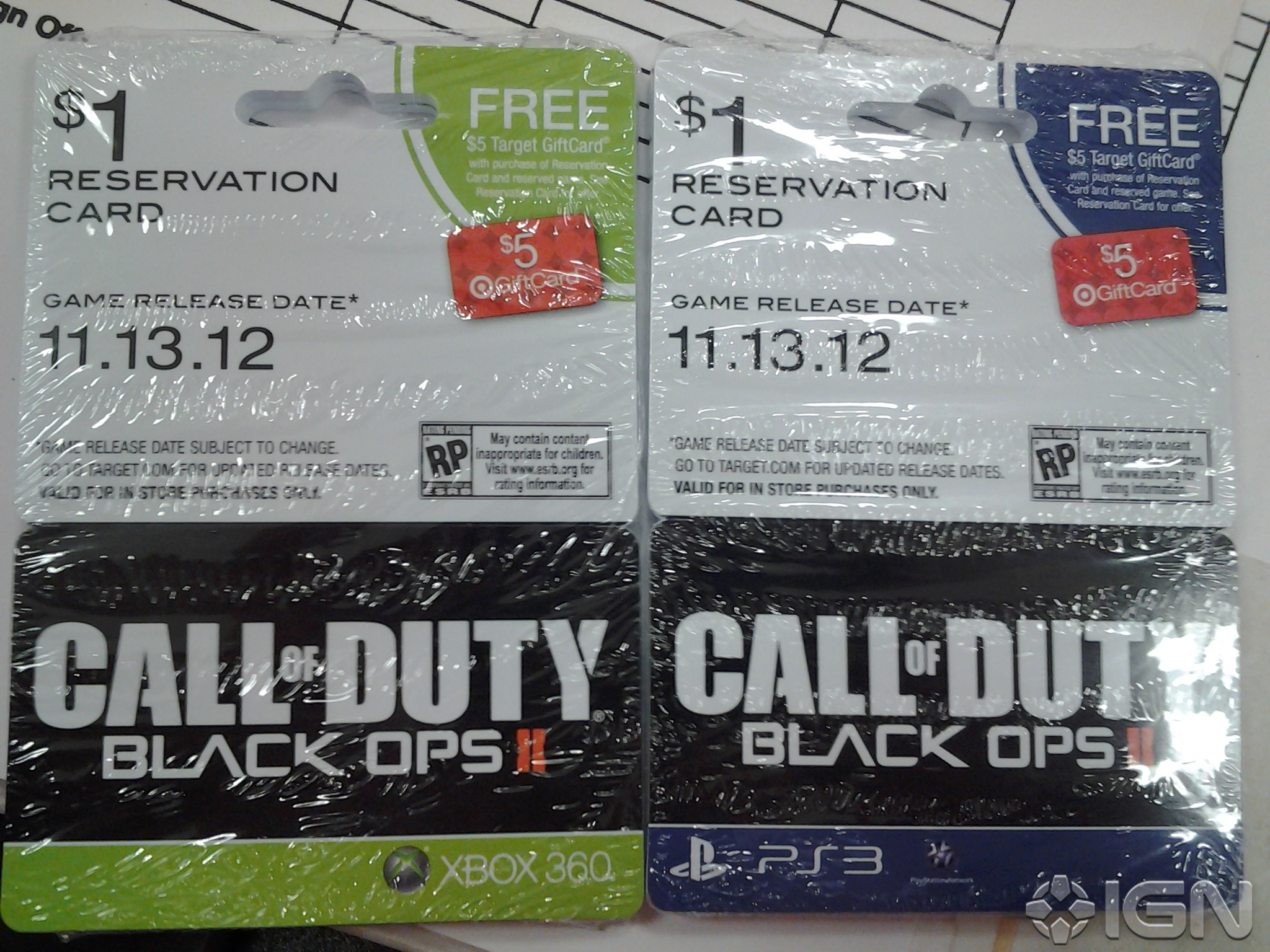 Black Ops 2 reservation card
