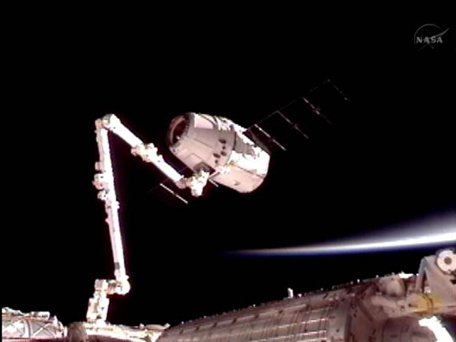 SpaceX Dragon berthed to the ISS