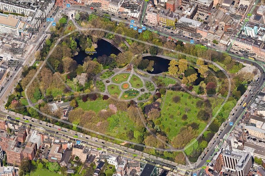 St. Stephen's Green in Dublin, Ireland - 45 degree aerial image
