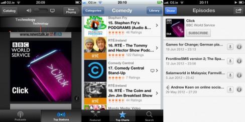 Three different app views