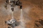 Artist's concept depicts the moment that NASA's Curiosity rover touches down onto the Martian surface