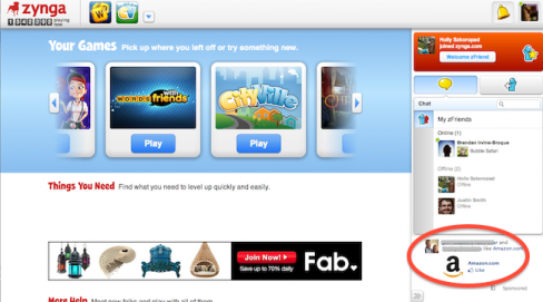 Facebook ads on Zynga.com