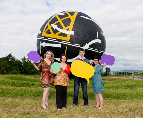 Event organisers Beatrice Whelan, Amanda Webb and Lorna Sixsmith with Dave Antrobus, MD of Grafton Media. Image credit: Cearbhuil Studios
