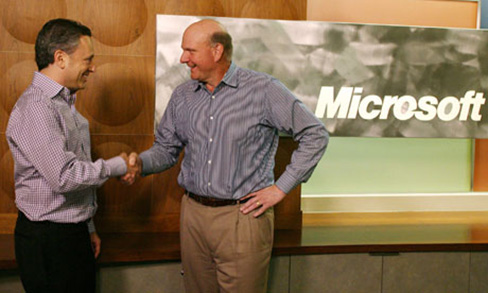 David Sacks and Steve Ballmer closing the Microsoft Yammer deal today
