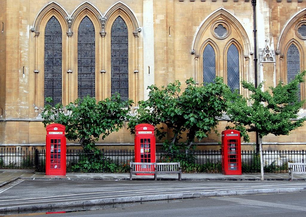 Three phone boxes