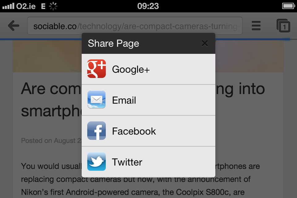 Google Chrome for iOS share preview