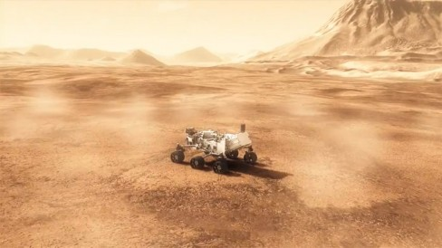 NASA rendering of Curiosity on Mars.  Image credit: NASA/JPL-Caltech