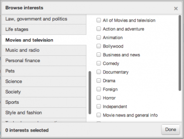 Twitter ads browser interests