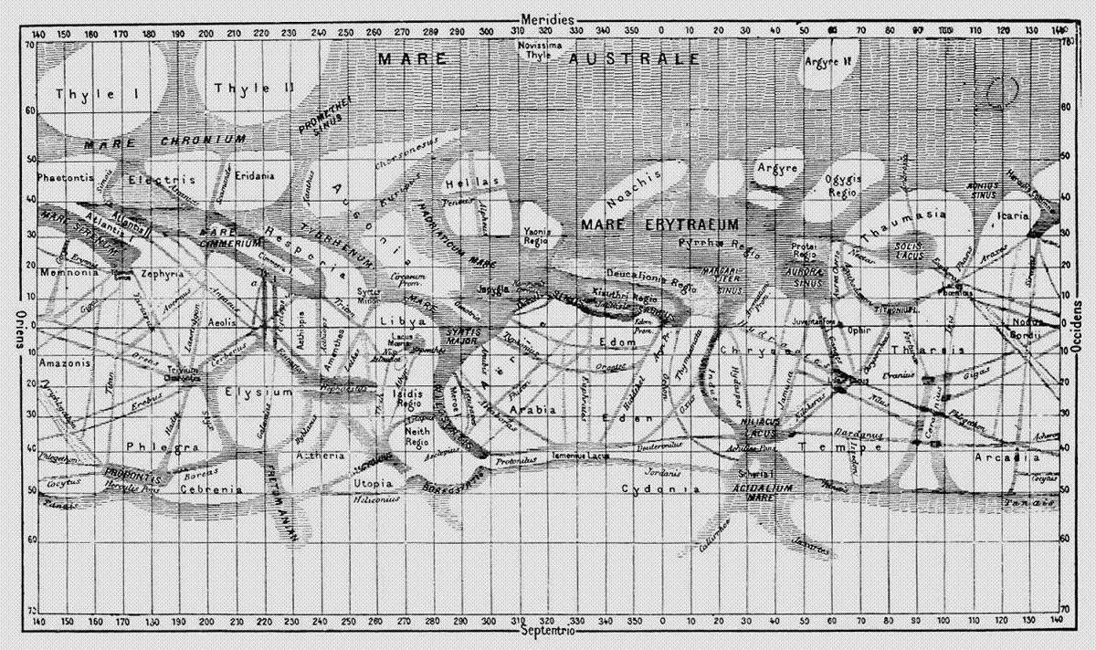 Giovanni Schiaparelli map of mars canals
