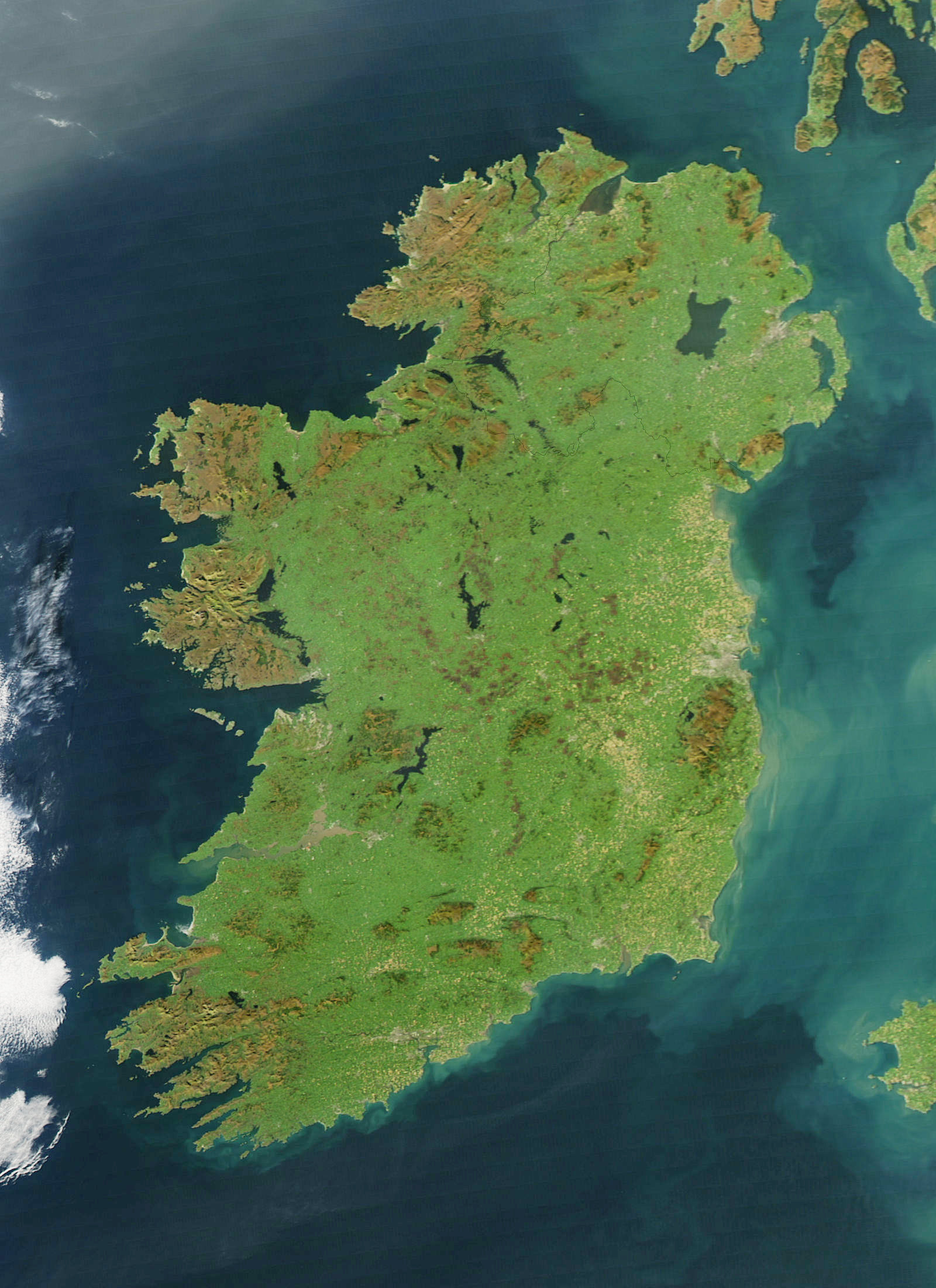 NASA satellite image of Ireland