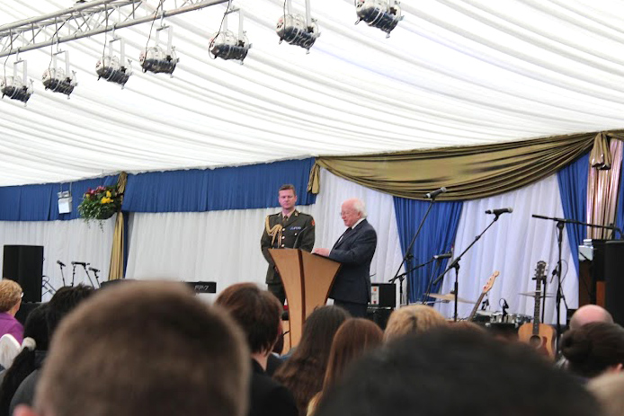 President Michael D. Higgins speaking at the inaugural Being Young and Irish event at Áras an Uachtaráin in July