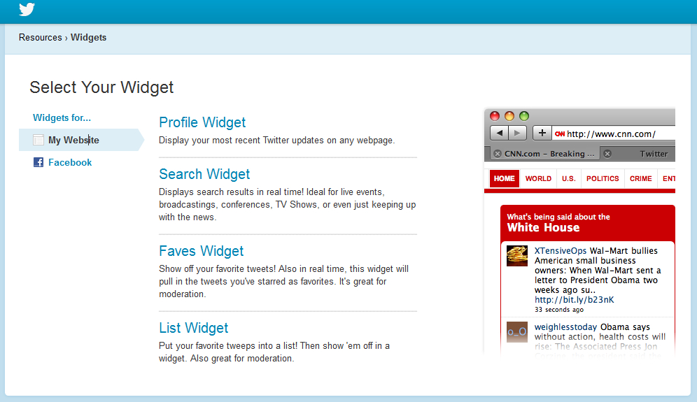 Twitter's old widget set up