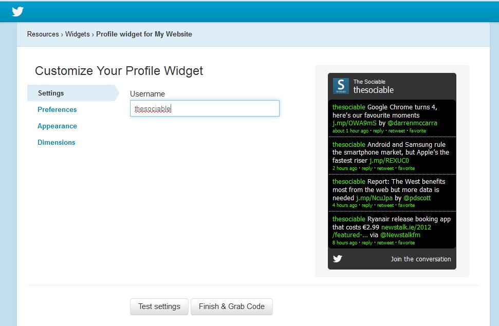Twitter's old widget