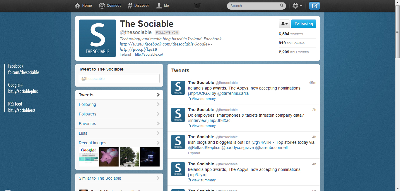 Twitter's old profile design