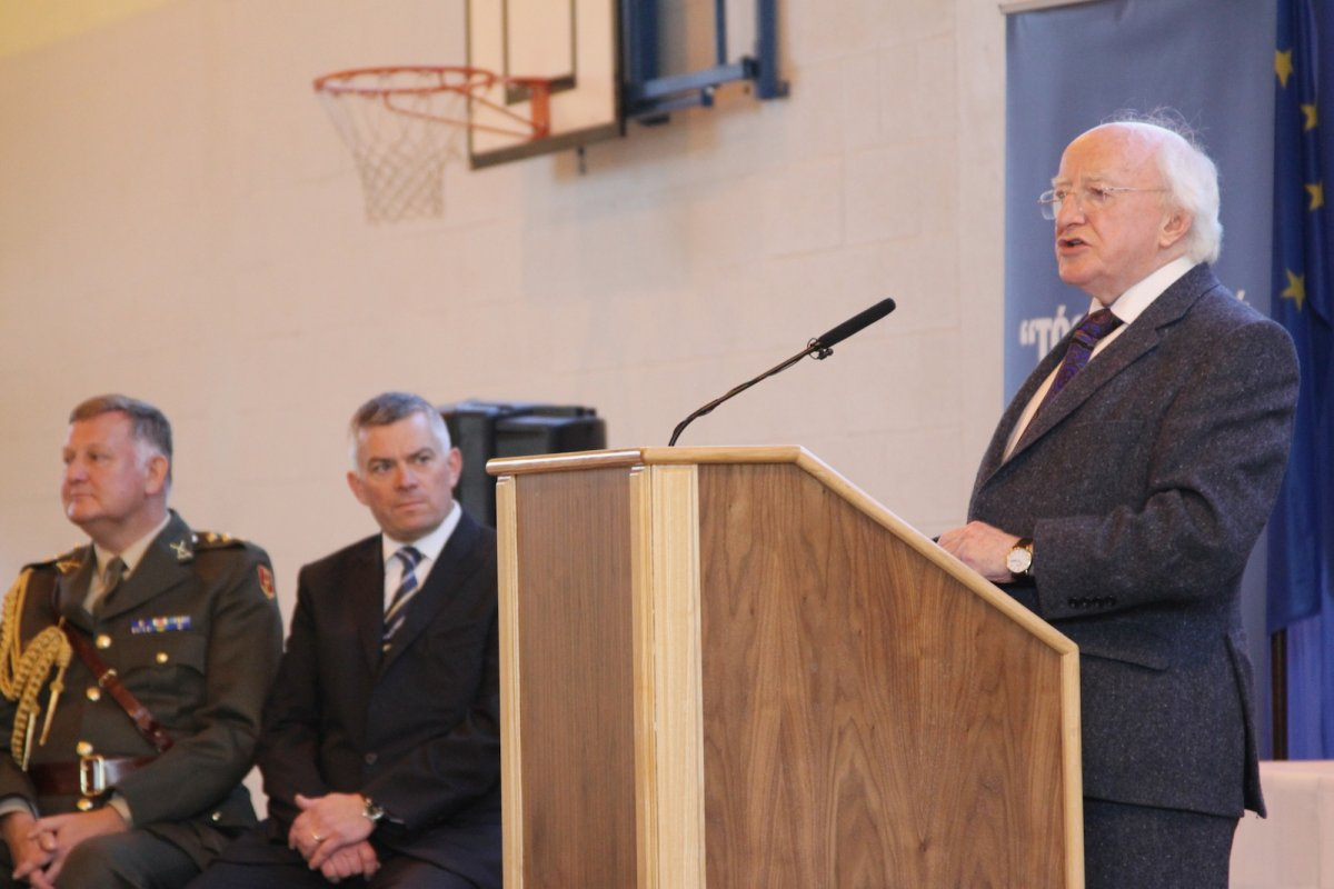 President Higgins speaking at the Being Young and Irish regional workshop in Monaghan