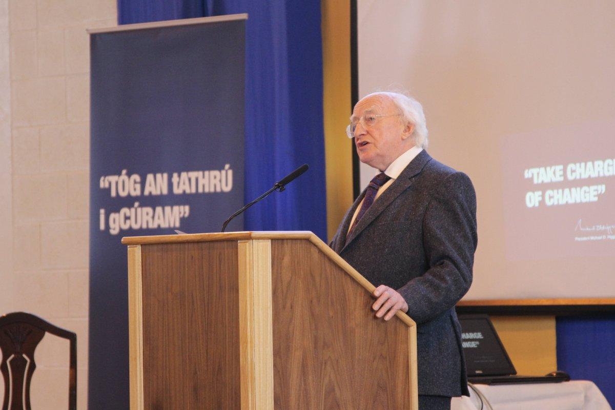 President Higgins speaking at the #youngandirish regional workshop in Monaghan
