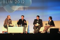 Ingrid Lunden of TechCrunch moderates a discussion on apps and the battle for users with Matt Paul of Schematic Labs, Steve Greenwood, founder and CEO of Brewster, and Tomer Kagan, co-founder and CEO of Quixey.
