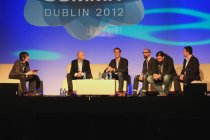 TNW's Martin Bryant moderates a discussion on mobile payments with Petter Made, co-founder of SumUp, Jacob deGeer, founder and CEO of iZettle, Ben Milne, founder and CEO of Dwolla, John Lunn, Director and Developer at PayPal, and Colm Lyon, founder and CEO of Realex Payments.