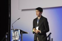 BT Young Scientist category winner in 2011 and again in 2012, James Eggers talks the audience through his Free Flow project that analyses traffic cameras and sends real-time traffic updates to Twitter.