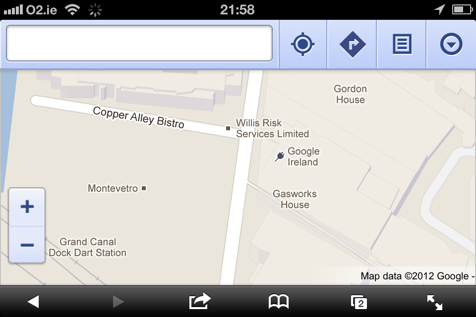 Google Maps mobile browser app on iPhone