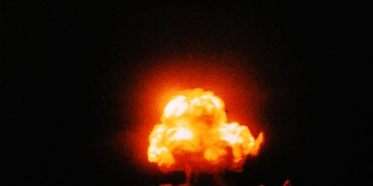 Trinity atomic test - colour photograph