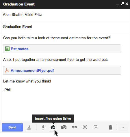 Attach a file from Google Drive to Gmail