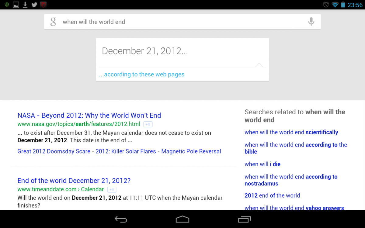 Google Now predicts that the world will end on December 21 2012