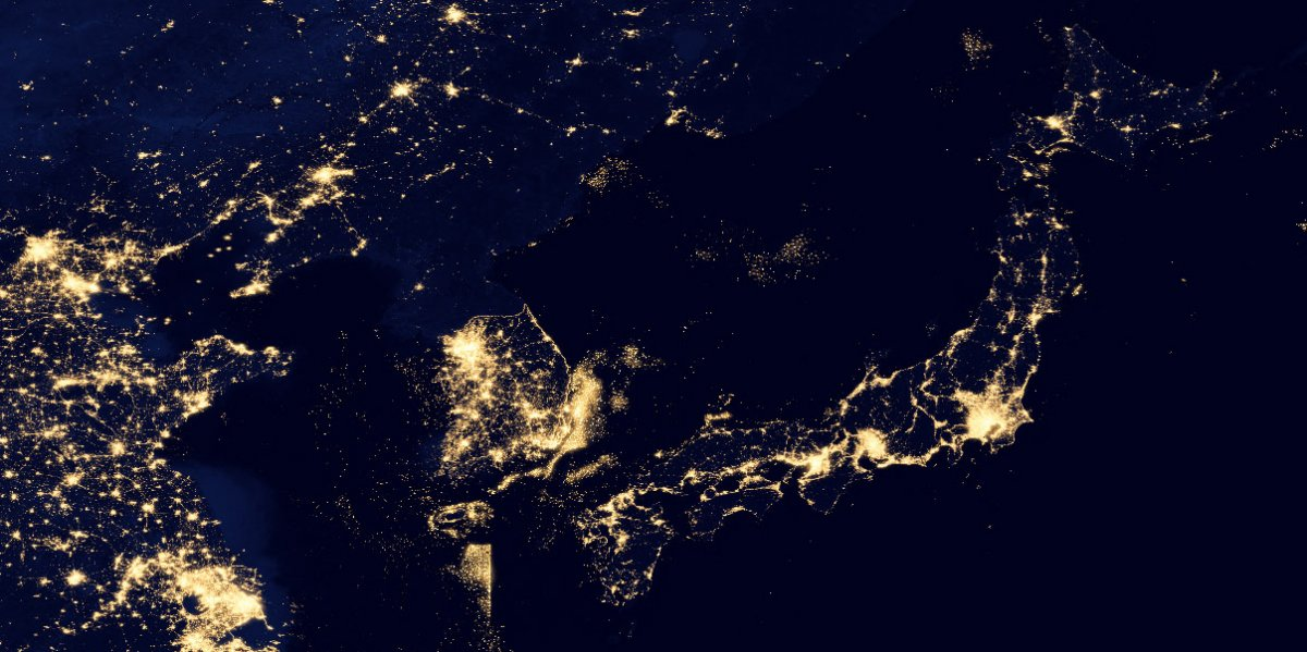 Nasas black marble image shows how stunning the earth is at night japan and northsouth korea gumiabroncs Image collections
