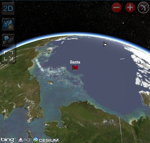 Bing Cesium and NORAD tracking Santa