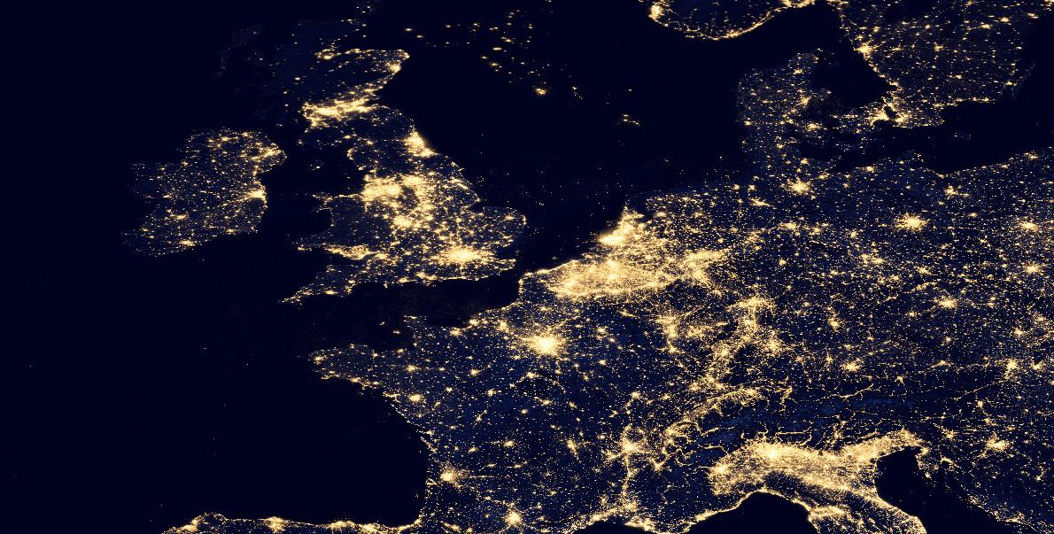 NASA image of Europe at Night