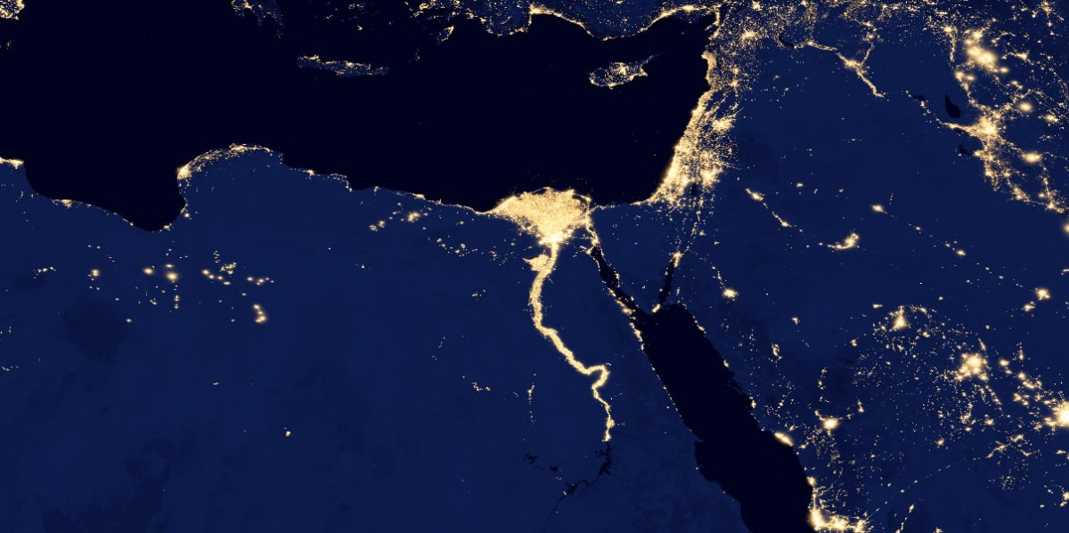 Egypt and the Nile at night