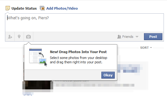 Facebook drag and drop image uploader