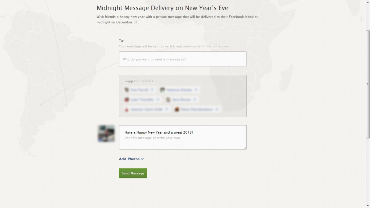 Facebook midnight delivery New Year's app