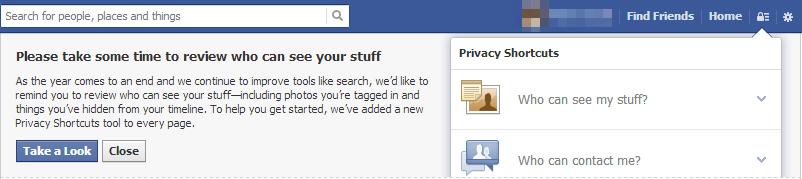 Facebook security dashboard