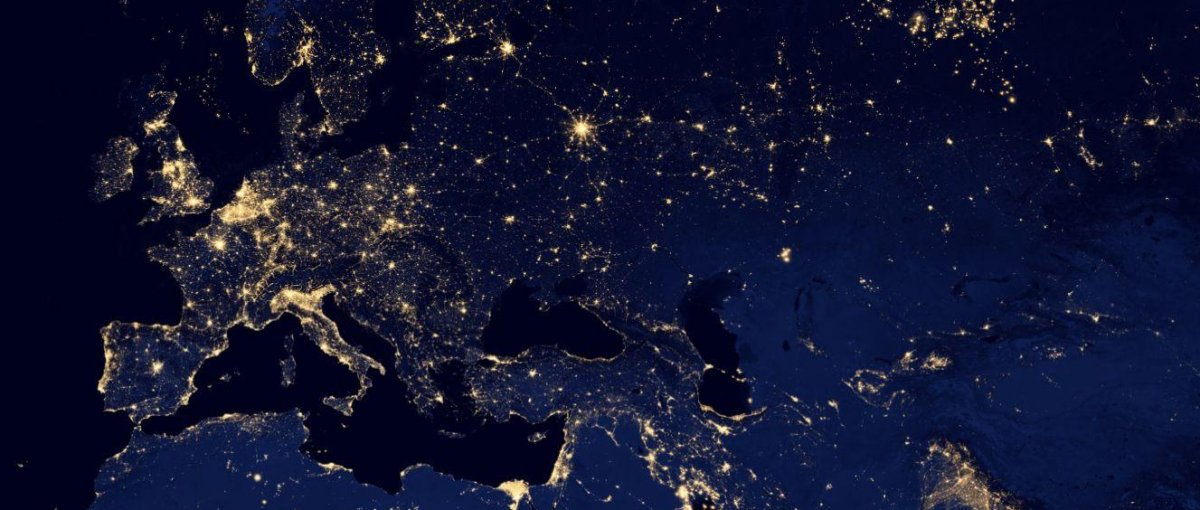NASA image of Europe and the Middle East at night on Google Maps