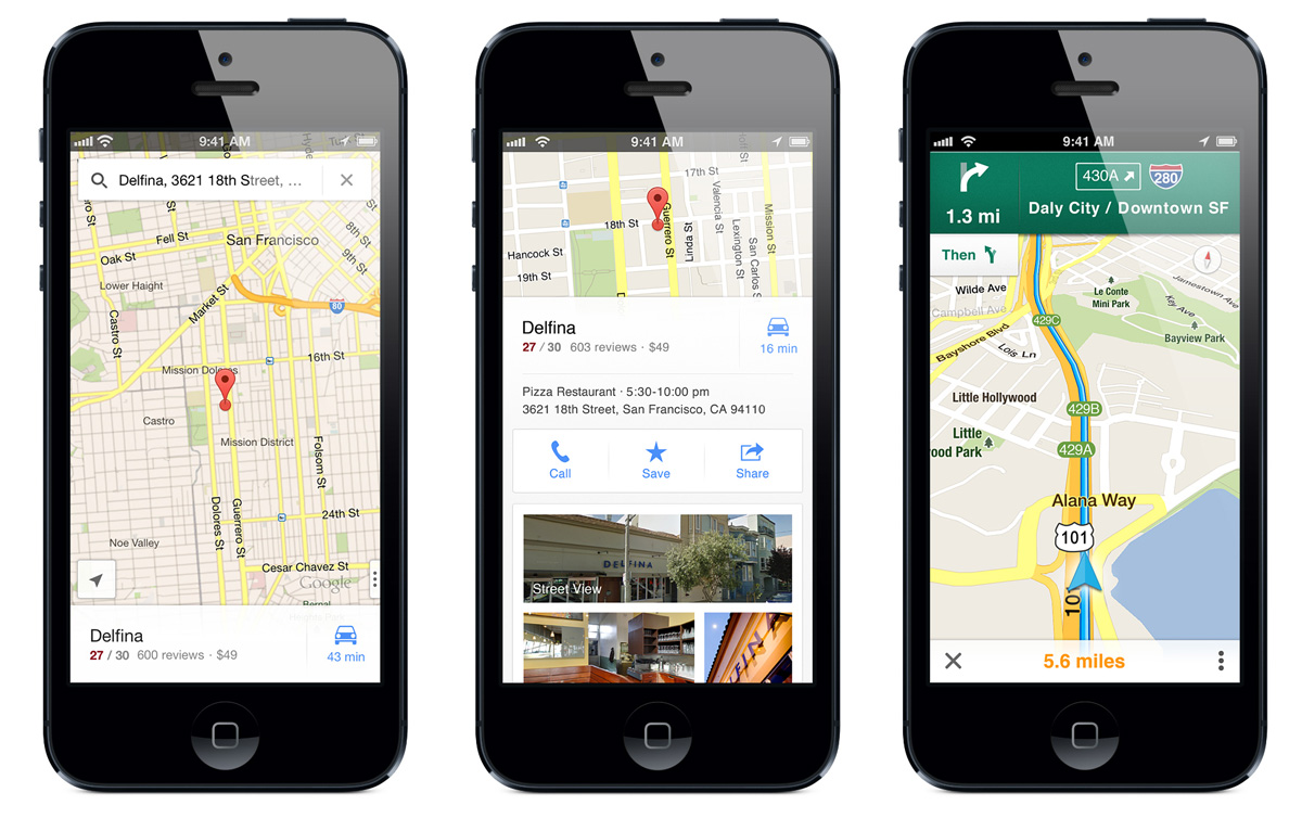 Google Maps on iPhone 5