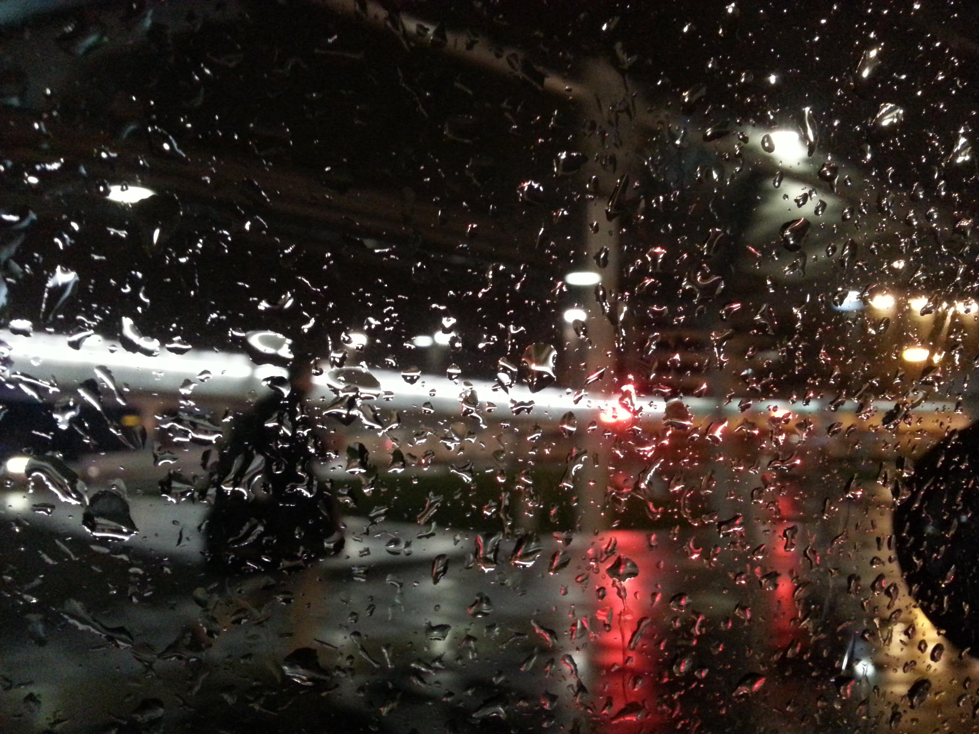 rain on window at night