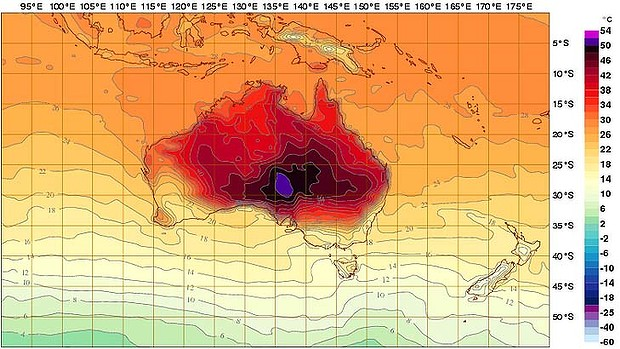 Australian Bureau of Meteorology fire heatmap
