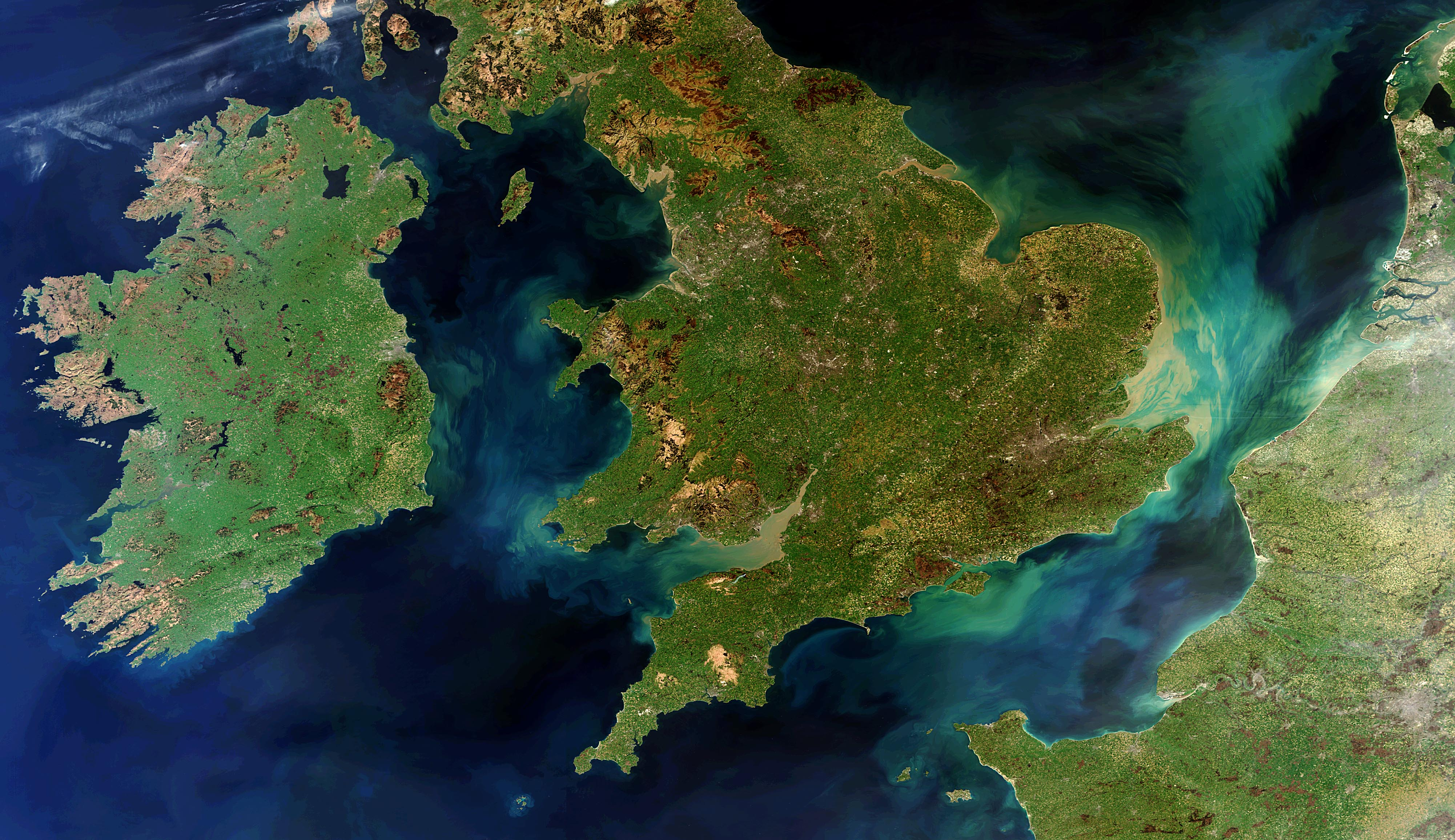 Ireland, Great Britain and Northern France from space. Credit The European Space Agency