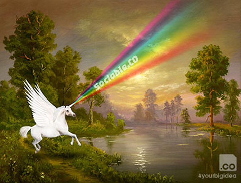 A unicorn shooting a laser rainbow