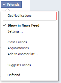 Facebook - Get friends' notifications