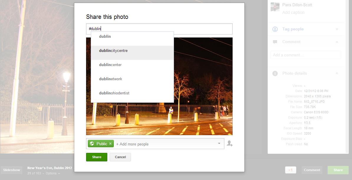 Google+ image hashtags