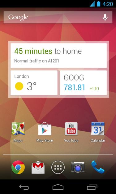 Google Now widget lock screen