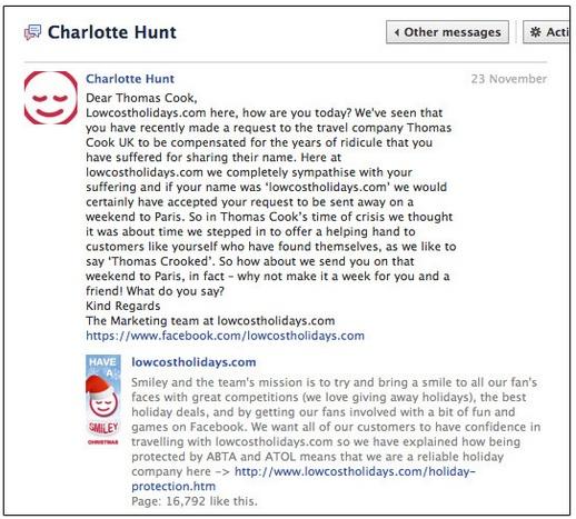 Thomas Cook Facebook fail