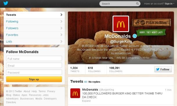 Burger King hijacked Twitter account