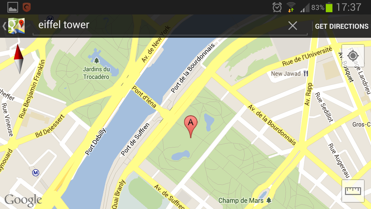 Google maps Eiffel Tower