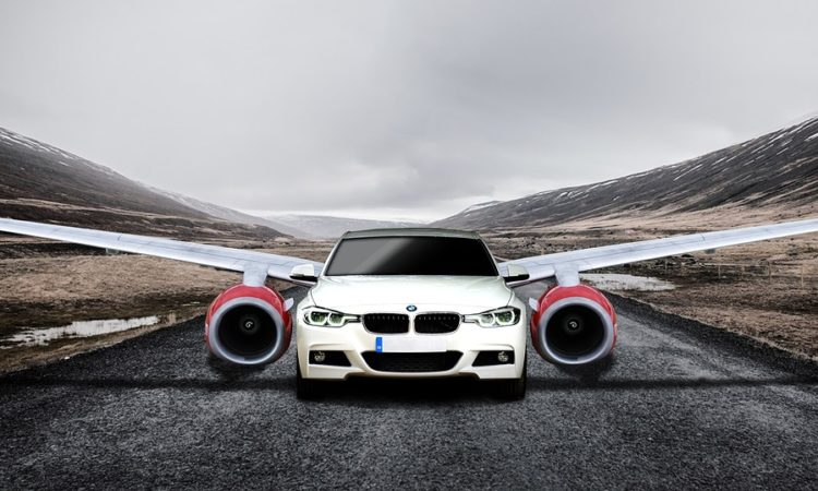 Auto Speed Road Wings Car Taking Off Drive